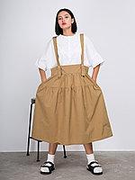Хлопковая юбка-сарафан на бретельках Песочный