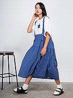 Хлопковая юбка-сарафан на бретельках Синий