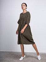 Широкое платье из хлопка с двумя карманами Хаки