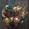 Декор Шар еловый d18см зеленый с огнями 20 ламп и золотыми шишками кабель зеленый