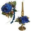 Букет на свечу d3см внутр Новогодняя роза синяя