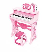 Детское пианино со стульчиком и микрофоном 37 клавиш розовое