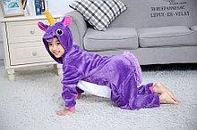 Детская пижама кигуруми единорог фиолетовый