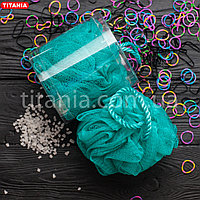 Мочалка банная бантик из синтетических материалов в коробке TITANIA art.9107 BOX Морская волна