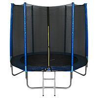 Батут ONLITOP, d=244 см, с лестницей, с сеткой высотой 173 см, цвет синий