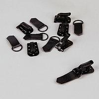 Крючки металлические для верхней одежды, 5 x 1,5 см, 6 шт, цвет чёрный
