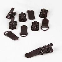 Крючки металлические для верхней одежды, 5 x 1,5 см, 6 шт, цвет коричневый