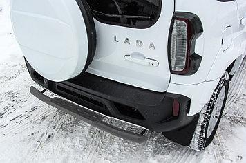 Защита заднего бампера d57 со ступенькой стальной серебристая Lada Niva Travel (2021)
