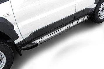 """Пороги алюминиевые """"Standart Silver"""" 1450 серебристые Lada Niva Travel (2021)"""