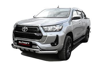 Защита переднего бампера d76+d57 двойная с профильной ЗК Toyota Hilux (2020)