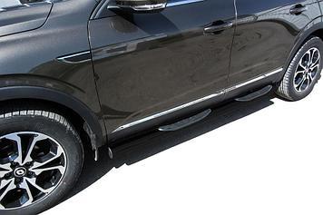 Защита порогов d76 с проступями черная Renault Arkana