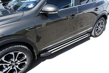 "Пороги алюминиевые ""Luxe Black"" 1700 Renault Arkana"