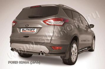 Защита заднего бампера d57 черная Ford Kuga (2013)