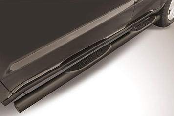 Защита порогов d76 с проступями черная Geely Emgrand X7