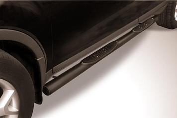 Защита порогов d76 с проступями черная Ford Kuga (2008)