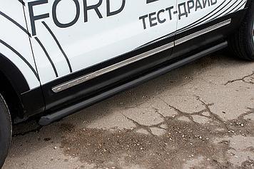 Защита порогов d76 труба черная Ford Explorer (2018)