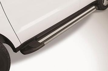 """Пороги алюминиевые """"Luxe Black"""" 1700 черные Geely Emgrand X7 (2016)"""