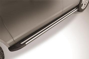 """Пороги алюминиевые """"Luxe Black"""" 2000 черные Volkswagen Touareg (2013)"""