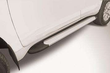 """Пороги алюминиевые """"Optima Silver"""" 1600 серебристые Toyota LC Prado J150 (2017)"""