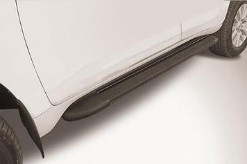 """Пороги алюминиевые """"Optima Black"""" 1600 черные Toyota LC Prado J150 (2017)"""
