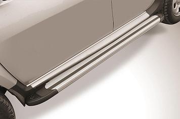 """Пороги алюминиевые """"Luxe Silver"""" 1800 серебристые Renault Duster (2015)"""