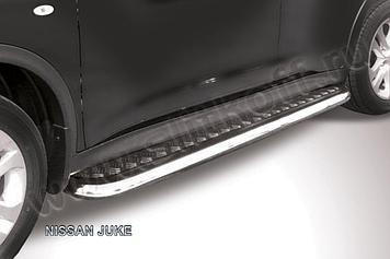 Защита порогов d42 с листом усиленная Nissan Juke 4WD (2011)