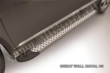 """Пороги алюминиевые """"Standart Silver"""" 1800 серебристые Haval H6"""