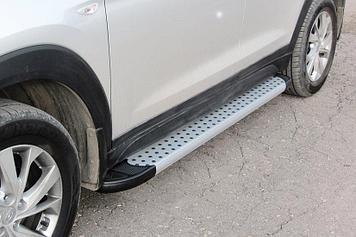 "Пороги алюминиевые ""Standart Silver"" 1700 серебристые Hyundai Tucson (2018) Turbo"