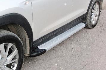 "Пороги алюминиевые ""Optima Silver"" 1700 серебристые Hyundai Tucson (2018) Turbo"