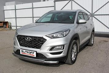 Защита переднего бампера d57+d42 двойная Hyundai Tucson (2018) Turbo