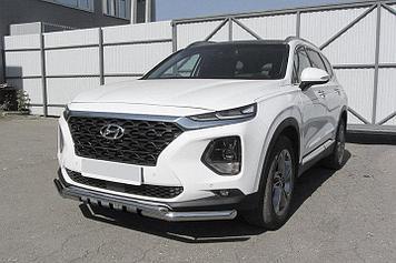 Защита переднего бампера d57+d42 двойная с декоративными элементами Hyundai SANTA-FE (2018)