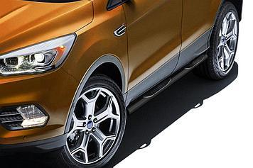 Защита порогов d76 с проступями черная Ford Kuga (2016)