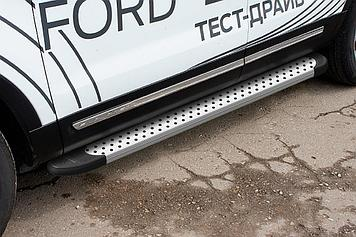 """Пороги алюминиевые """"Standart Silver"""" 1800 серебристые Ford Explorer (2015)"""