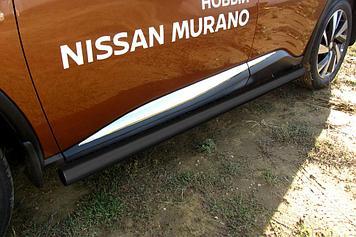 Защита порогов d76 труба черная Nissan Murano (2016)