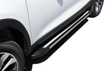 """Пороги алюминиевые """"Luxe Black"""" 1700 черные Chery Tiggo7"""