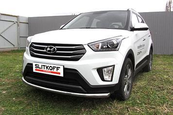 Защита переднего бампера d57 радиусная Hyundai CRETA 4WD 2016