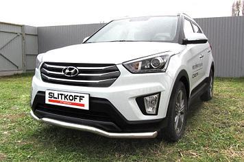 """Защита переднего бампера d57 """"Волна"""" Hyundai CRETA 4WD 2016"""