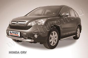 Защита переднего бампера d76+d57 двойная  Honda CR-V (2009)