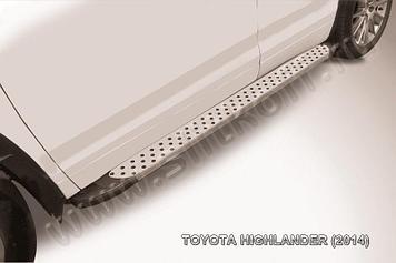 """Пороги алюминиевые """"Standart Silver"""" 1800 серебристые Toyota Highlander (2014)"""