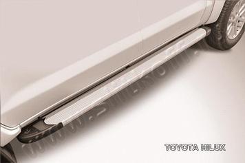 """Пороги алюминиевые """"Optima Silver"""" 2000 серебристые Toyota Hilux"""