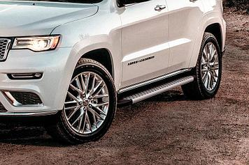 "Пороги алюминиевые ""Standart Silver"" 1550 серебристые Jeep GRAND CHEROKEE (2013)"