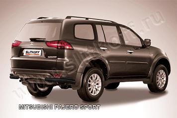Уголки d57+d42 двойные черные Mitsubishi Pajero Sport (до 2010)