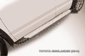 """Пороги алюминиевые """"Optima Silver"""" 1800 серебристые Toyota Highlander (2014)"""