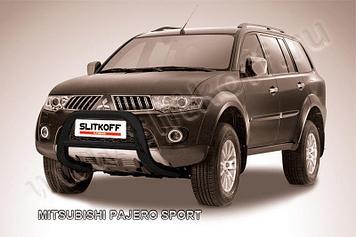 Кенгурятник d76 низкий черный Mitsubishi Pajero Sport (до 2010)