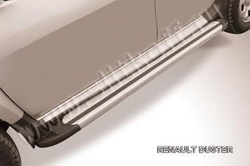"""Пороги алюминиевые """"Luxe Silver"""" 1800 серебристые Renault Duster"""