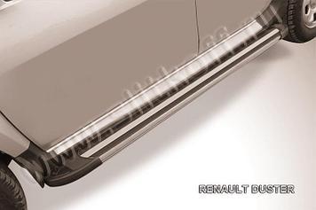"""Пороги алюминиевые """"Luxe Black"""" 1800 черные Renault Duster"""