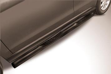 Защита порогов d76 с проступями черная Mitsubishi ASX (2014)