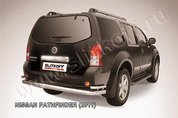 Защита заднего бампера d76+d42 двойная Nissan Pathfinder (2011)