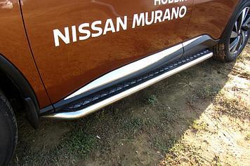 Защита порогов d57 с листом усиленная Nissan Murano (2016)