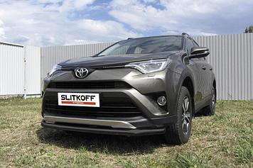 Защита переднего бампера d57 черная Toyota RAV4 (2015)